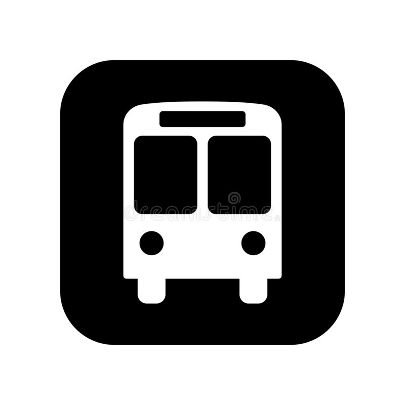 Svärta den plana vektorhållplatssymbolen isolerade; tecken för information om bussstation; pictogram royaltyfri illustrationer