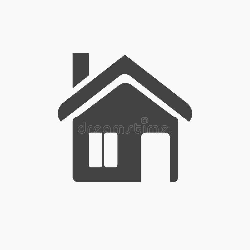 Svärta det plana hemmet, stugan, chaletsymbol royaltyfri illustrationer