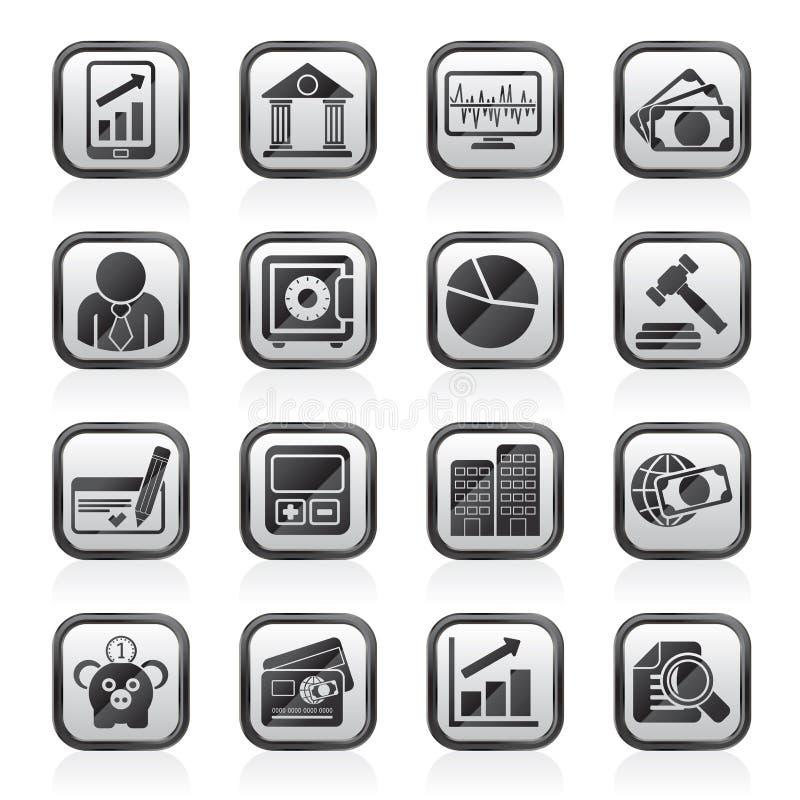 Svärta en vit affär, finansiera och packa ihop symboler royaltyfri illustrationer