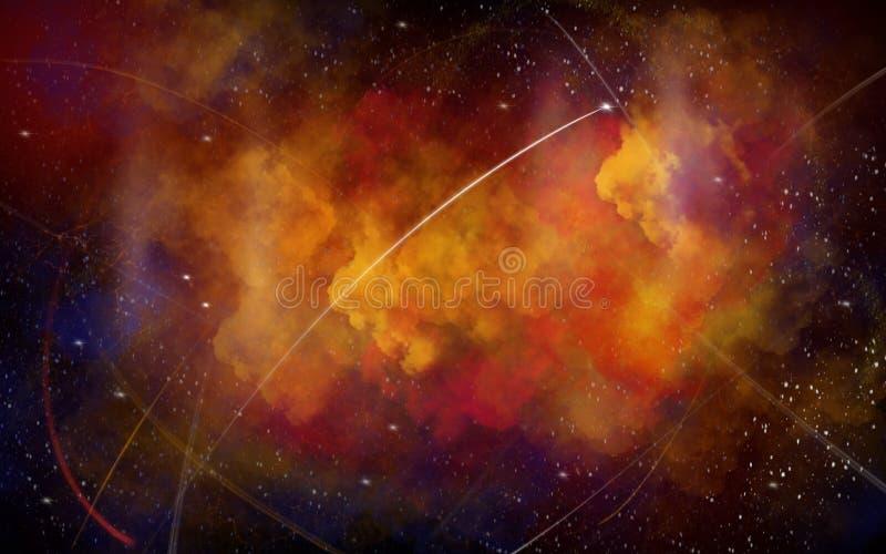 Svärta, gulna utrymmeillustrationbakgrund med ljusa vita stjärnor, rött vektor illustrationer