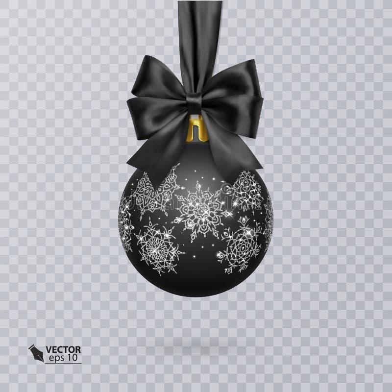 Svärta jul klumpa ihop sig dekorerat med en realistisk svart pilbåge royaltyfri illustrationer