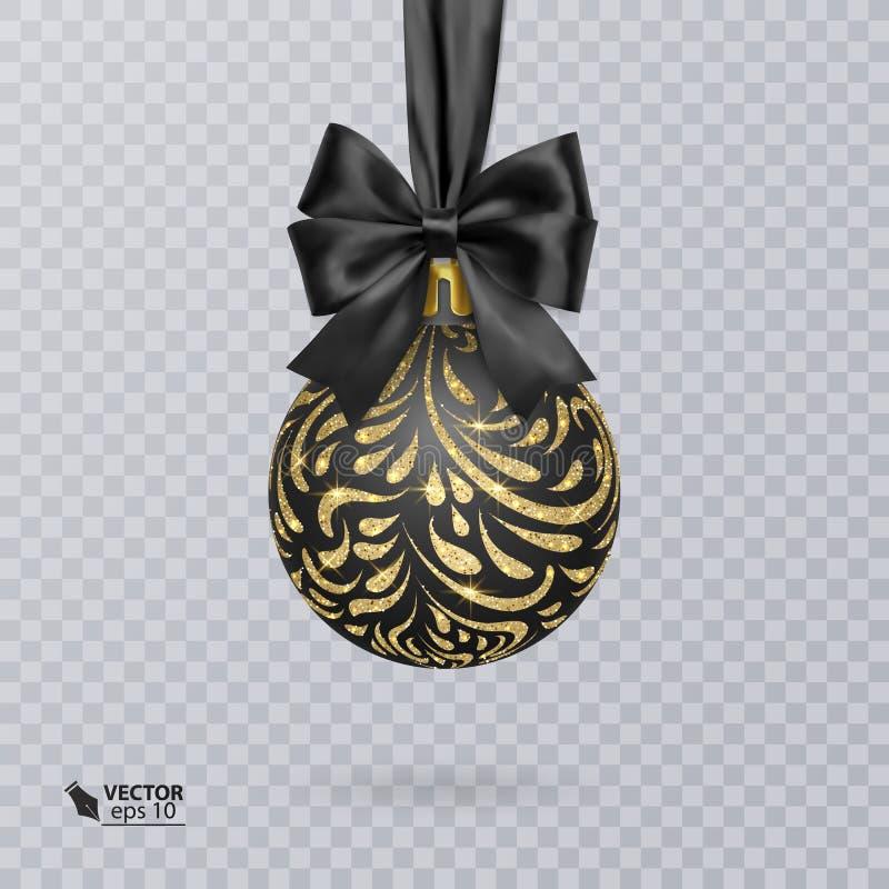 Svärta jul klumpa ihop sig dekorerat med en realistisk svart pilbåge och en skinande guld- prydnad också vektor för coreldrawillu vektor illustrationer