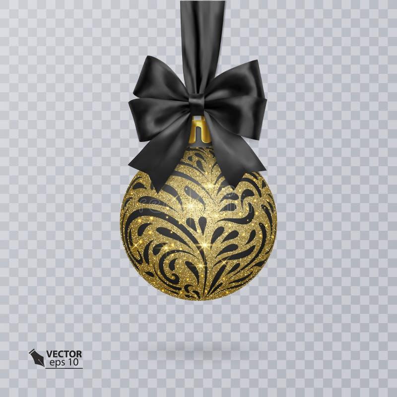 Svärta jul klumpa ihop sig dekorerat med en realistisk svart pilbåge och en skinande guld- prydnad också vektor för coreldrawillu stock illustrationer