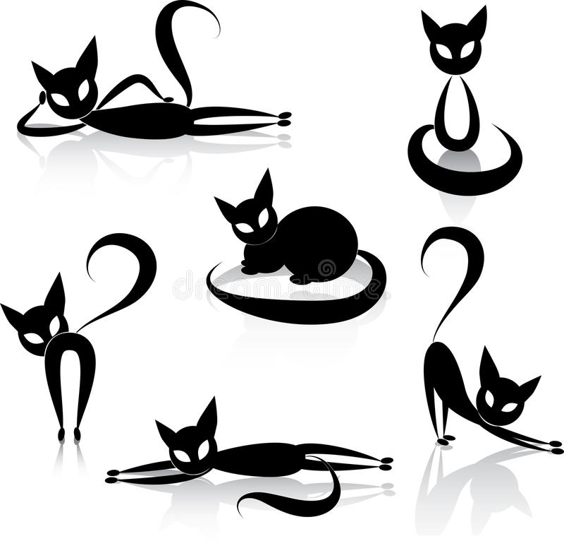 Svärta katten vektor illustrationer
