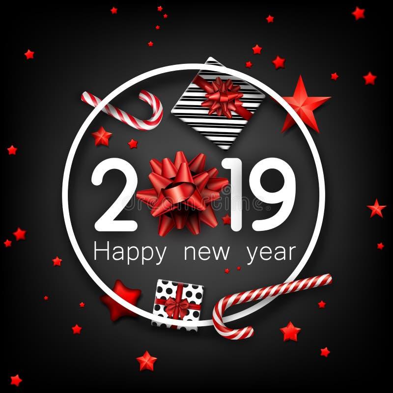 Svärta 2019 kort för lyckligt nytt år med den röda pilbågen, gåvan och godisen royaltyfri illustrationer