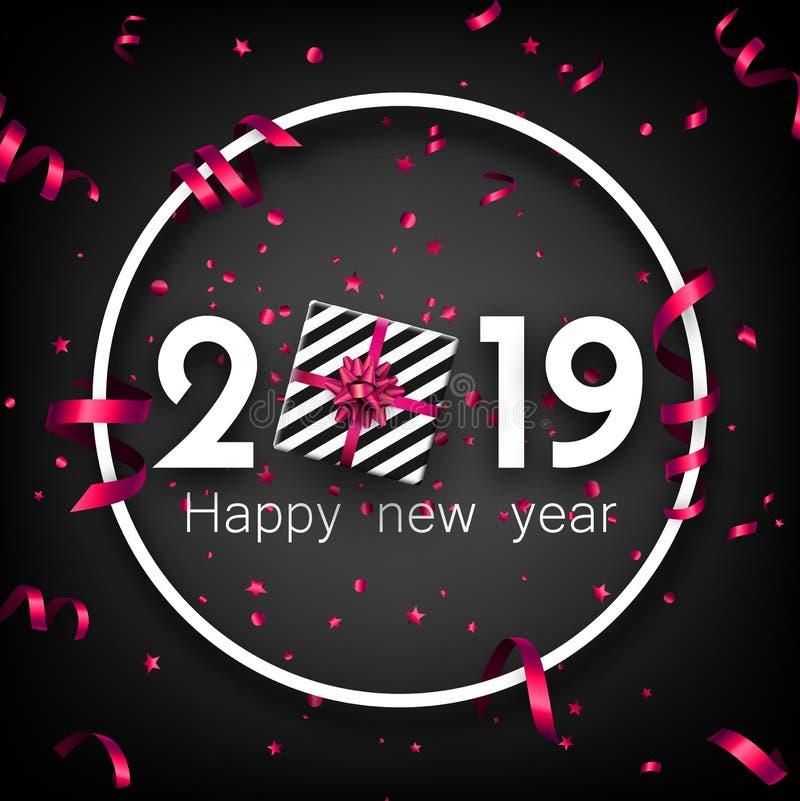 Svärta 2019 kort för lyckligt nytt år med den rosa gåvan för den bästa sikten stock illustrationer