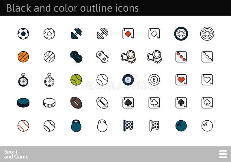 Svärta och färga översiktssymboler, den tunna slaglängdlinjen stildesign vektor illustrationer