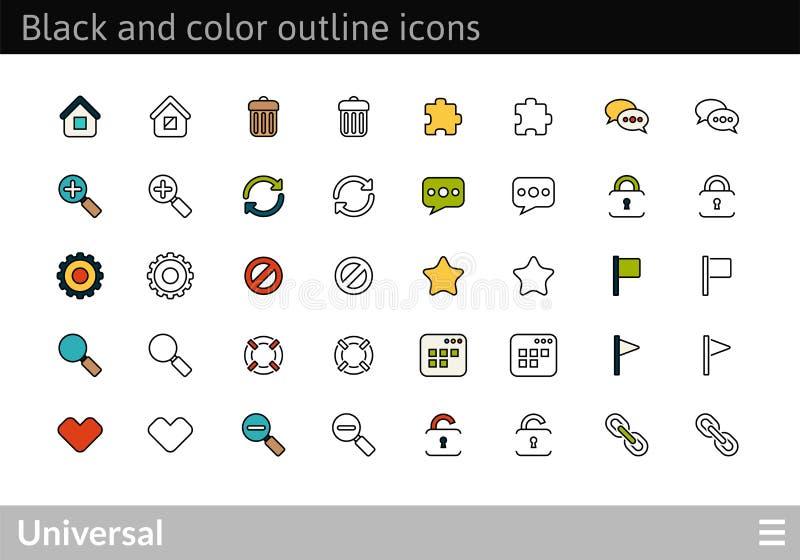 Svärta och färga översiktssymboler, den tunna slaglängdlinjen stildesign stock illustrationer