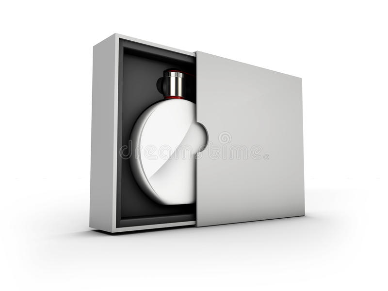 Svärta och försilvra doftflaskan på vit bakgrund Modell vektor illustrationer