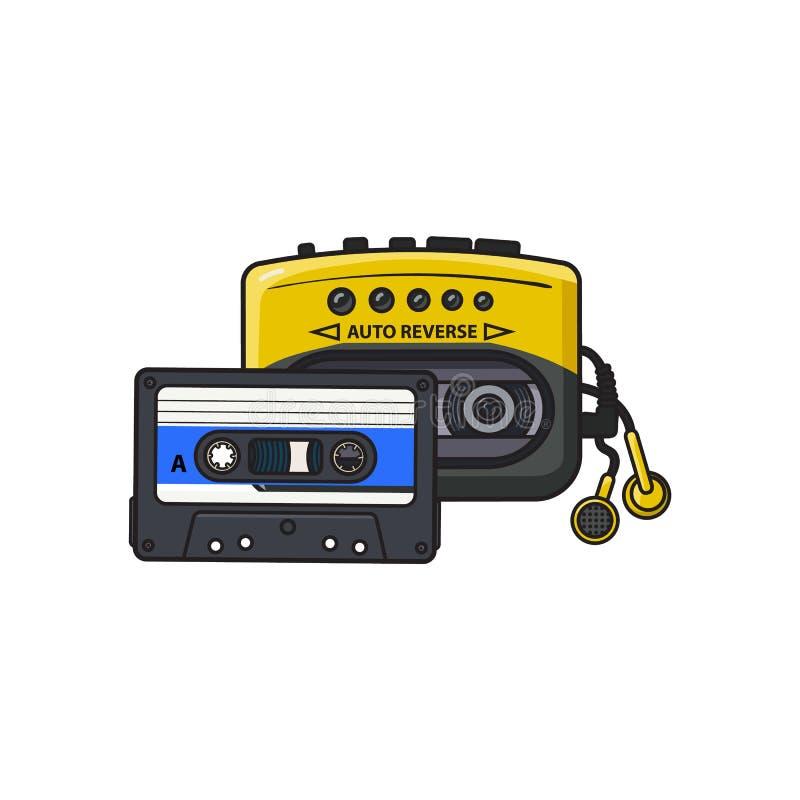 Svärta och gulna den ljudsignal spelaren, walkmanen och ljudbandet från 90-tal royaltyfri illustrationer