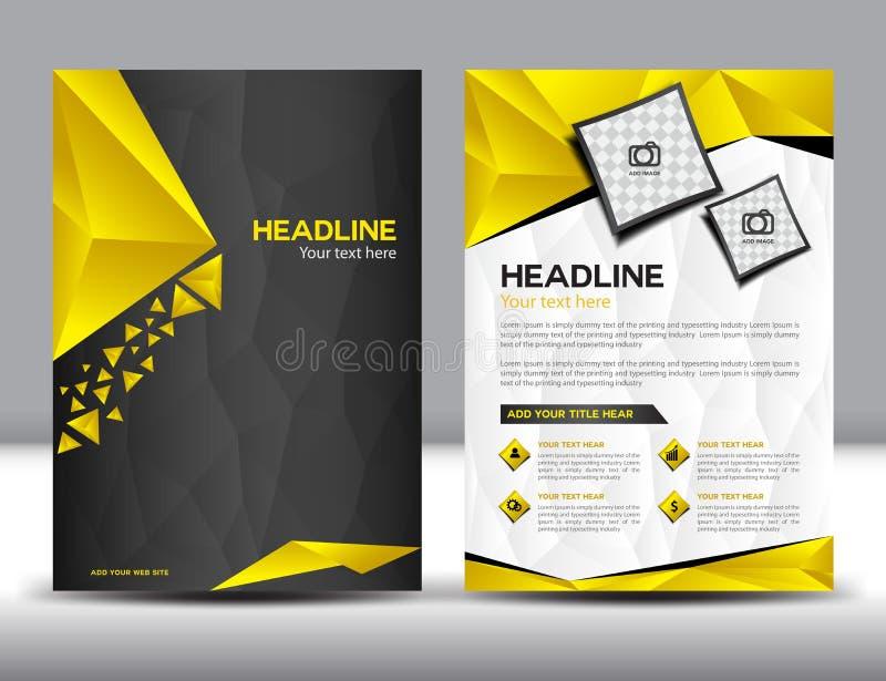 Svärta och gulna mallen för orienteringen för designen för affärsbroschyrreklambladet stock illustrationer