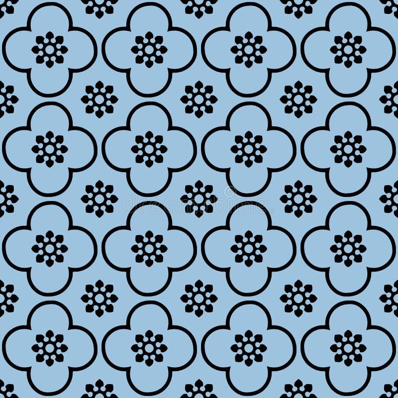 Svärta på ljust - blå för repetitionmodellen för klubban och för cirkeln sömlös bakgrund stock illustrationer