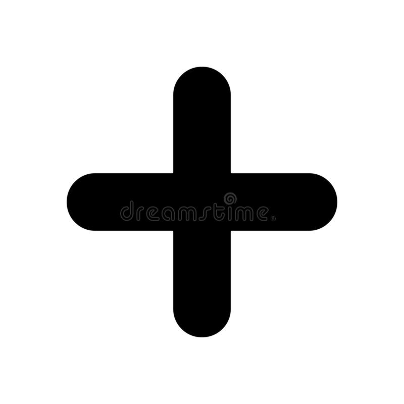 Svärta plus tecken Positivt symbol som isoleras på vit bakgrund stock illustrationer