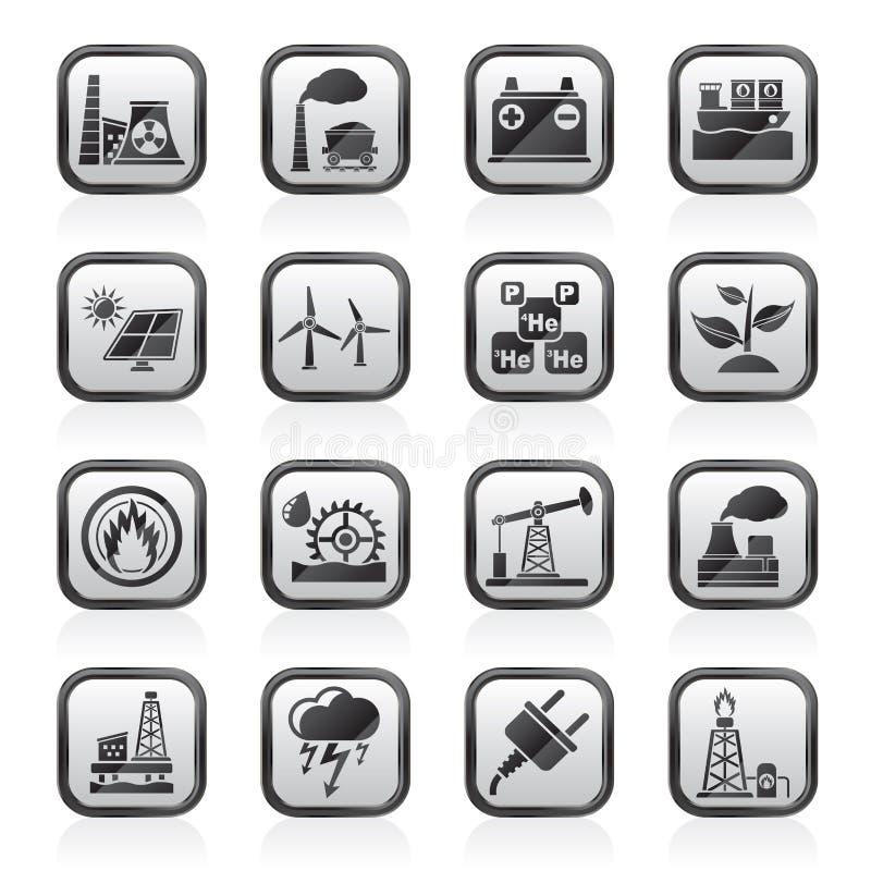 Svärta symboler för en vit elektricitet och för energikällan royaltyfri illustrationer