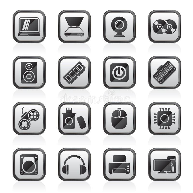 Svärta vita del- och apparatsymboler för en dator royaltyfri illustrationer