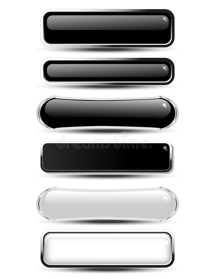 Svärta, vita rektangel- och ovalknappar för website eller app Tomma monokromma etiketter för text köper nu, prenumererar, underte vektor illustrationer