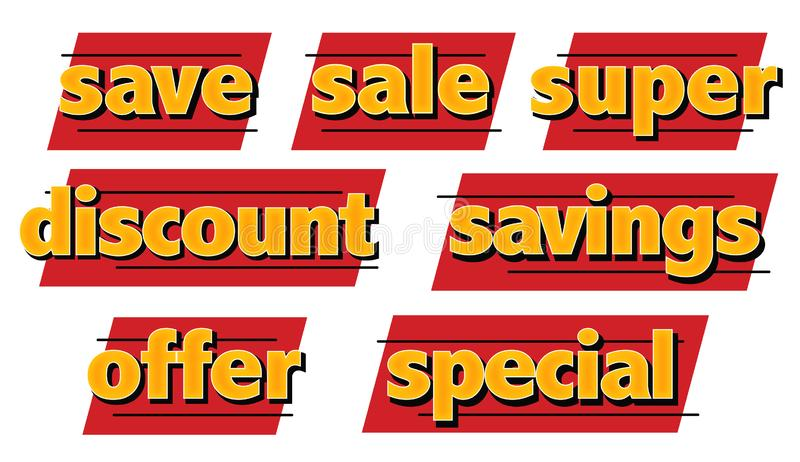 Svärtar besparingar för speciala rabatter för Sale symboler samlingen för fredag konstlogoer stock illustrationer
