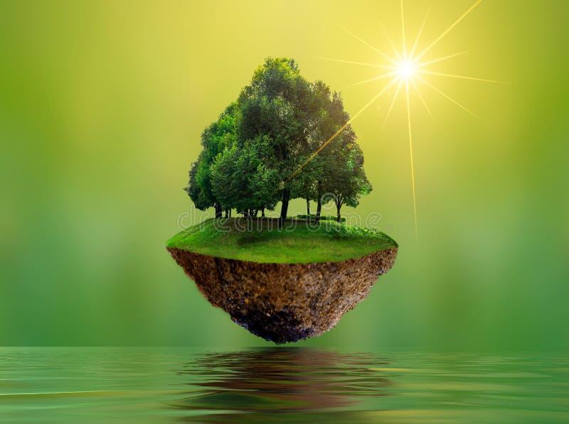 Sväva öar med trädsjöfloden i miljön för dag för beskydd för värld för dag för himmelvärldsmiljö royaltyfri fotografi