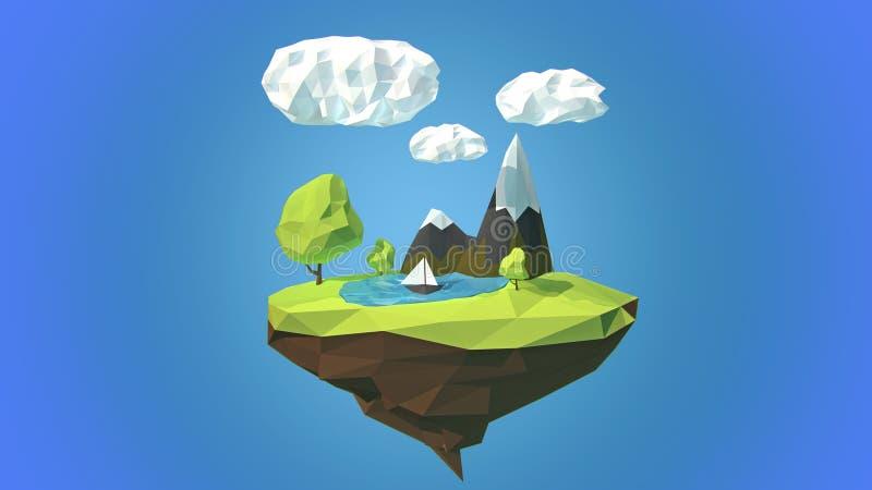 Sväva ön med berget och moln i himlen royaltyfri illustrationer