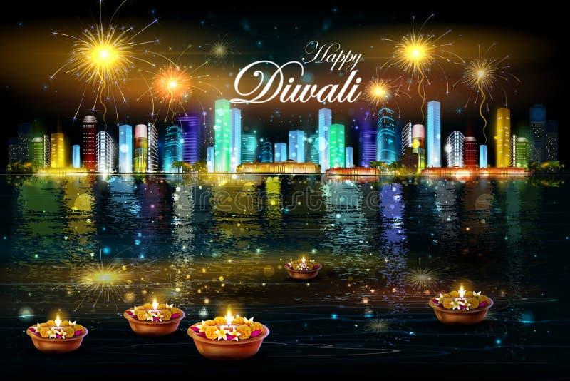 Sväva diya med blomman för lycklig Diwali bakgrund stock illustrationer