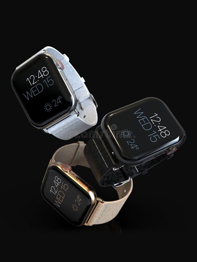 Sväva för 3 för Apple klocka 4 klockor för stil smart stock illustrationer
