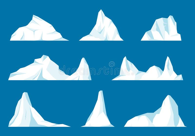 Sväva isberguppsättningen vektor illustrationer