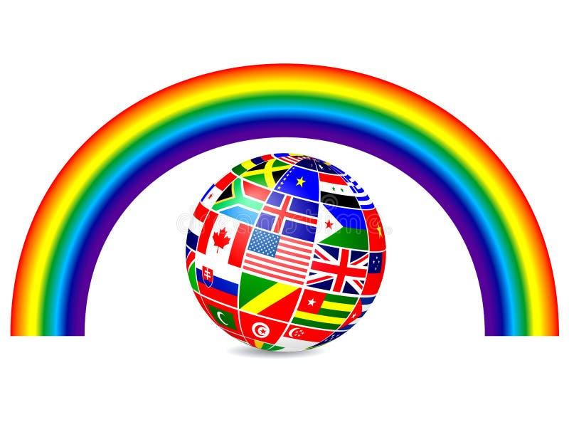 Sväva jordklotet som täckas med världsflaggor och raibow vektor vektor illustrationer