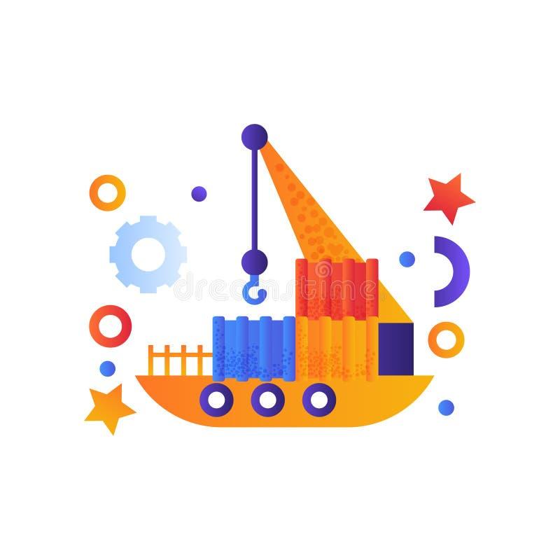 Sväva kranen, industriellt skepp, havslopp, retro illustration för vektor för leksakvattentransport på en vit bakgrund royaltyfri illustrationer