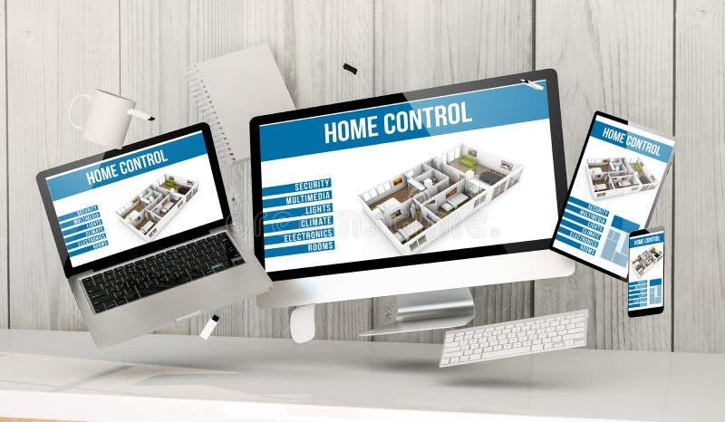sväva på apparater på kontoret med programvara för hem- automation royaltyfri illustrationer