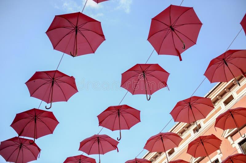 Sväva paraplyer royaltyfri fotografi
