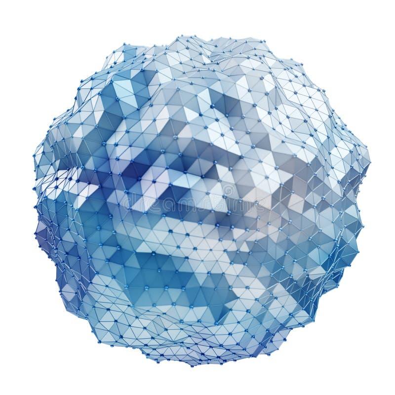 Sväva vit och den blåa glödande sfären knyta kontakt tolkningen 3D stock illustrationer