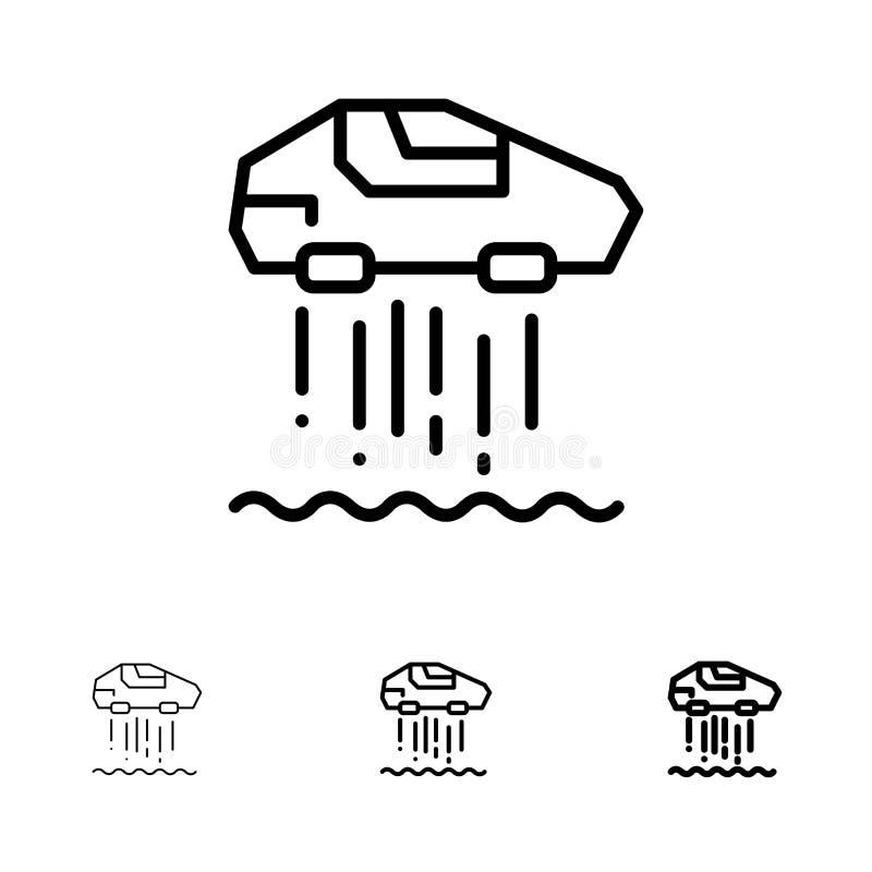Svävandebil, personlig, för bil, för teknologi djärv och tunn svart linje symbolsuppsättning stock illustrationer