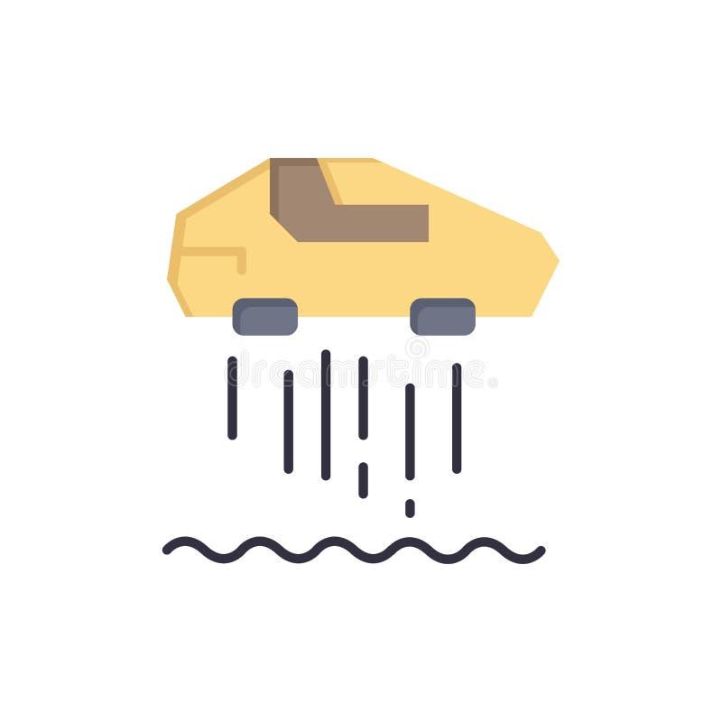 Svävandebil som är personlig, bil, plan färgsymbol för teknologi Mall för vektorsymbolsbaner stock illustrationer