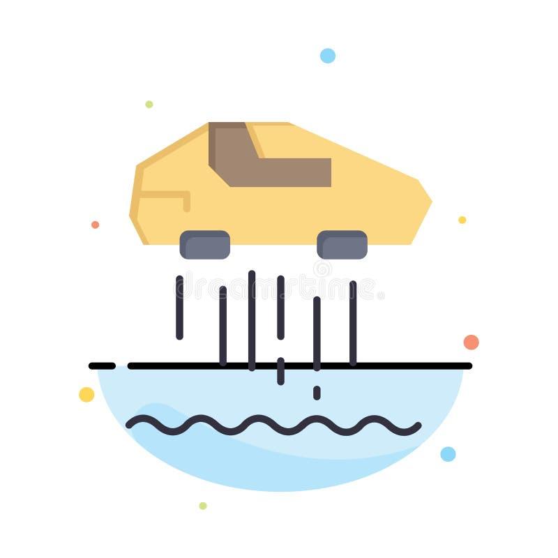 Svävandebil som är personlig, bil, teknologiaffär Logo Template plan f?rg vektor illustrationer