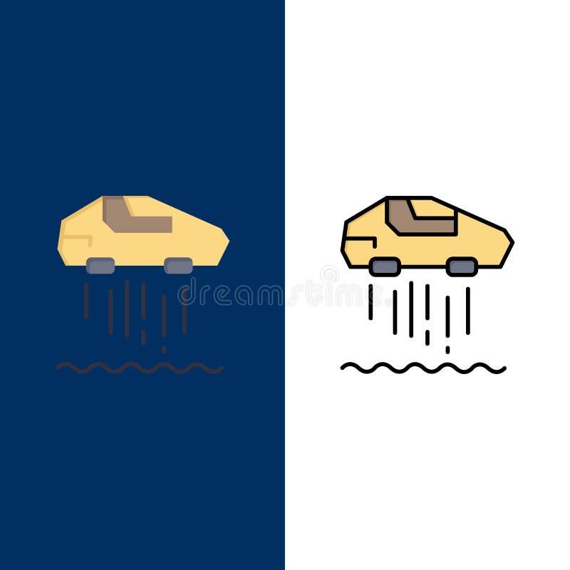 Svävandebil som är personlig, bil, teknologisymboler Lägenheten och linjen fylld symbol ställde in blå bakgrund för vektorn vektor illustrationer