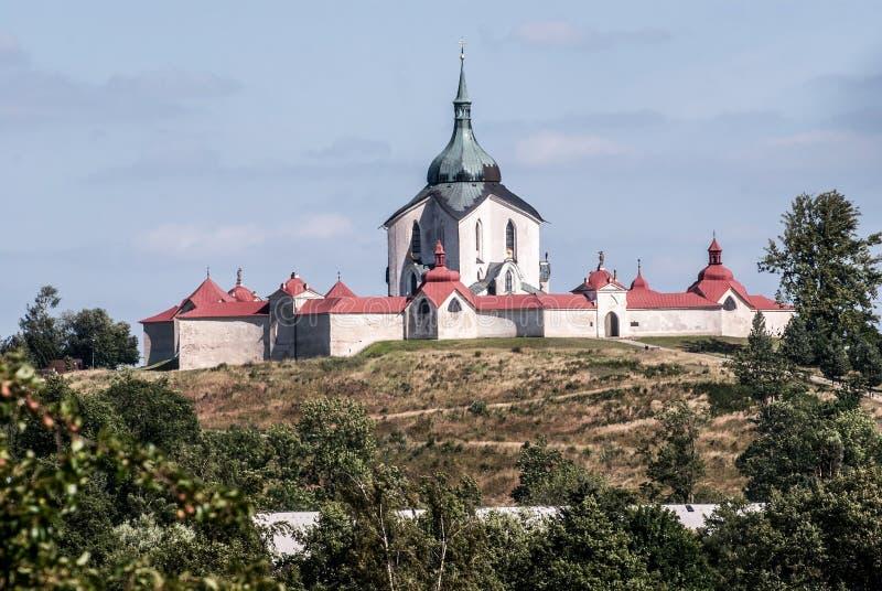 sv的巴洛克式的教会 在Zelena hora小山的1月Nepomucky在联合国科教文组织的保护的捷克共和国的Zdar nad Sazavou市上 库存图片