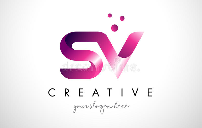 SV Letter Logo Design with Purple Colors and Dots royalty free illustration