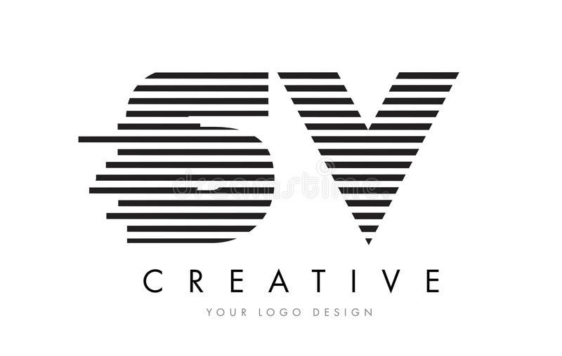 SV S V Zebra Letter Logo Design with Black and White Stripes stock illustration