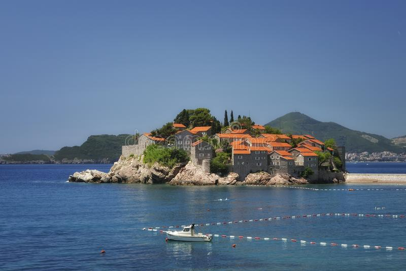 Sv. Stefan Island, Montenegro. Little Island Sv. Stefan in the Adriatic Sea, Montenegro stock photography