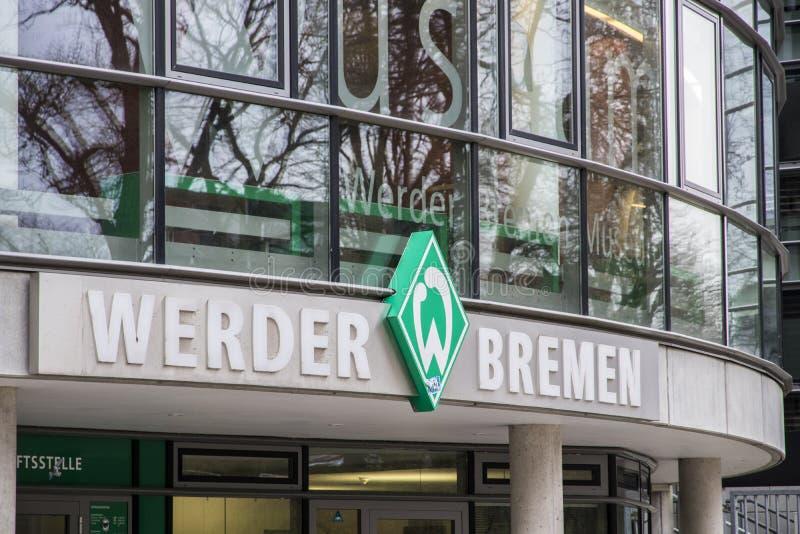 SV Werder Bremen. Bremen, Germany. Emblem of German sports football club SV Werder Bremen in the outside of the Weserstadion stock images