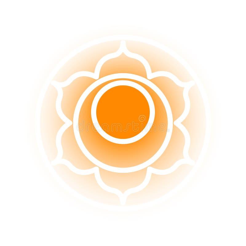Svadhishthana chakra icon. Vector Svadhishthana chakra icon. Color yoga chakra symbol on white. Great for design, associated with yoga and India. Energetic point vector illustration