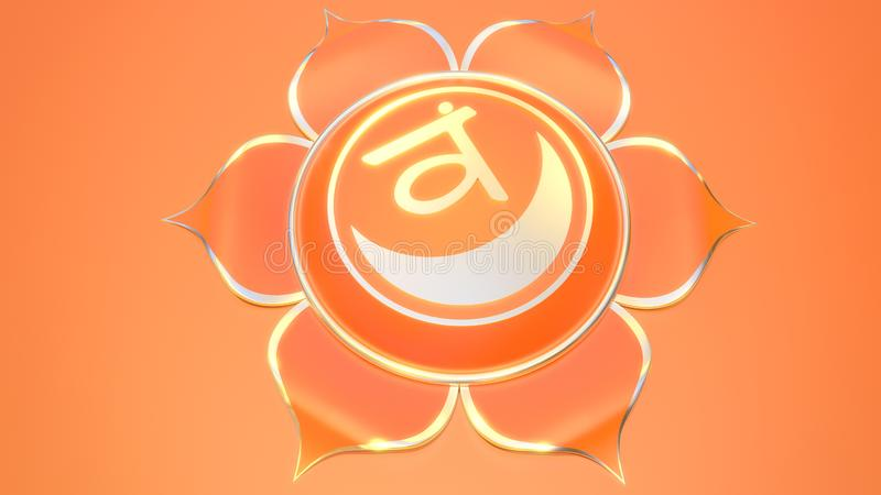 Svadhistana chakra symbol used in Hinduism, Buddhism, Ayurveda. 3d illustration muladhara. Balance and energy royalty free illustration
