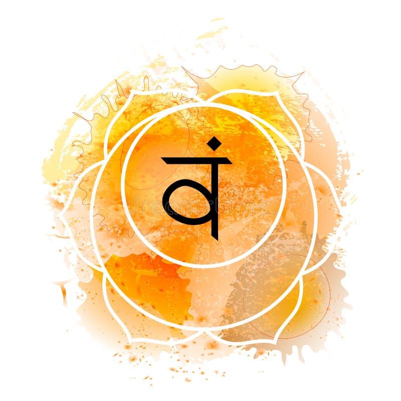 Svadhisthana chakra on orange watercolor background vector illustration