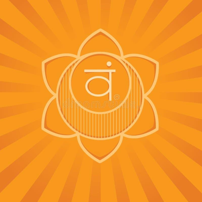 Svadhisthana chakra - symbol av energi i människokropp Anv?nt i alternativ medicin stock illustrationer