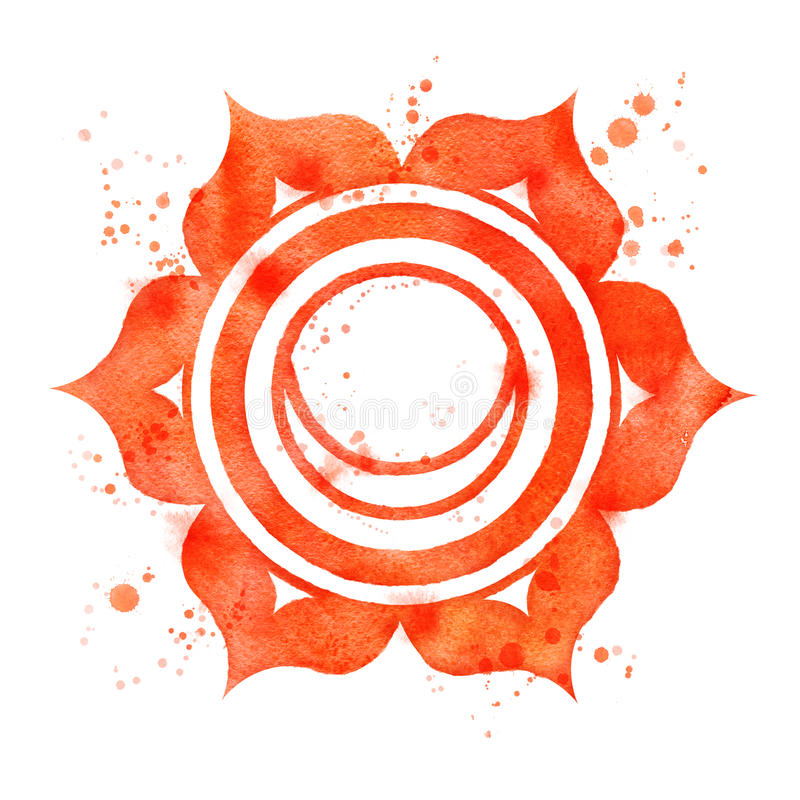 Svadhisthana chakra symbol. Watercolor illustration of Svadhisthana chakra symbol with paint splashes vector illustration