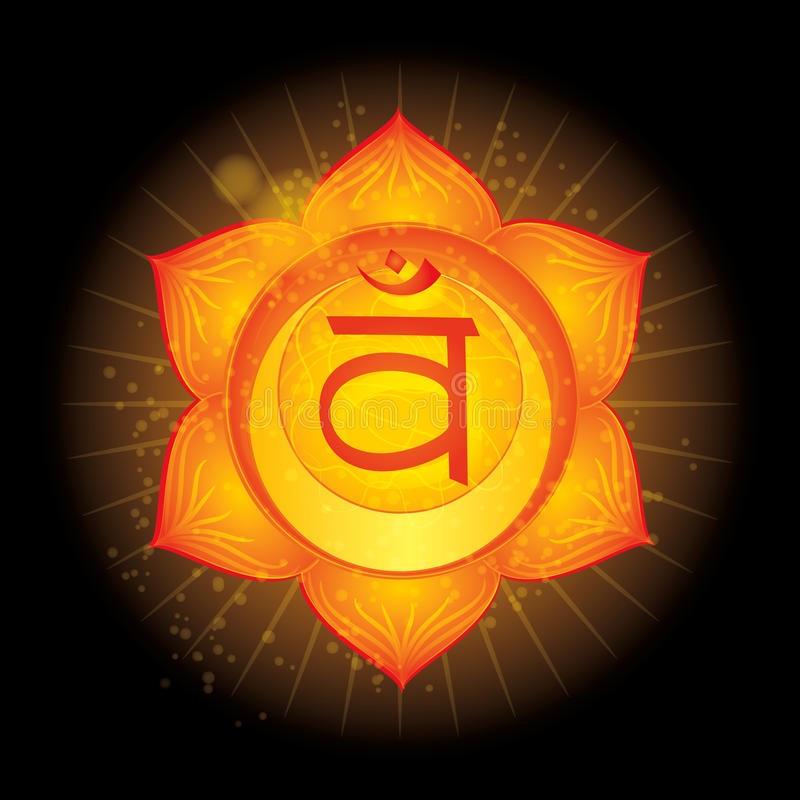 Svadhisthana. Glowing chakra icon . The concept of chakras used in Hinduism, Buddhism and Ayurveda. For design, as stock illustration