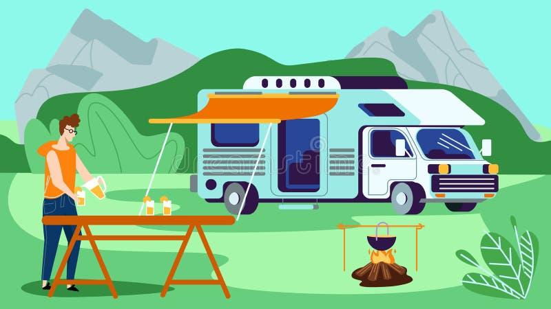 Svago turistico nel campeggio, vacanza del campeggio estivo royalty illustrazione gratis