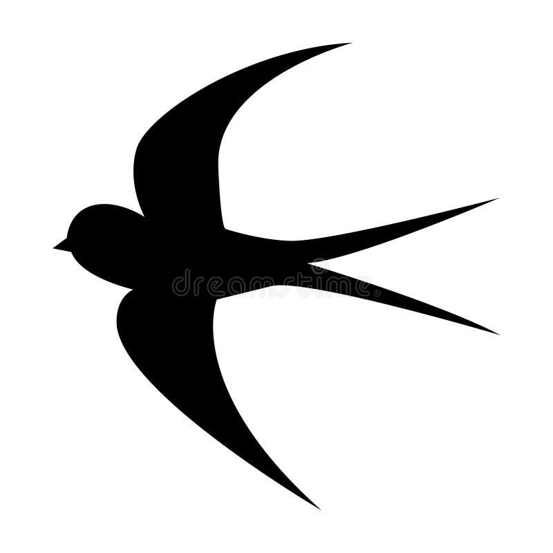 Svala för flyg för vektorteckningskontur på vit bakgrund stock illustrationer