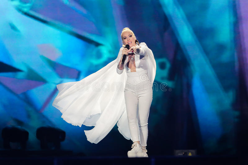 Svala from Iceland at the Eurovision Song Contest. KYIV, UKRAINE - MAY 08, 2017: Svala from Iceland at the first semi-final rehearsal during Eurovision Song stock image