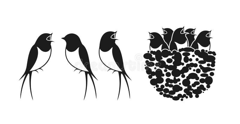 Svalalogo Rede av svalor royaltyfri illustrationer